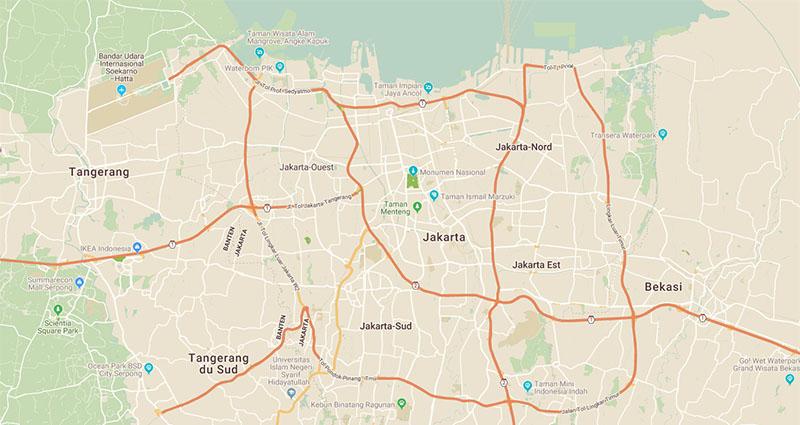 Carte de la ville de Jakarta