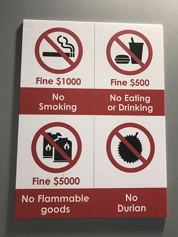 Règle du métro Singapour